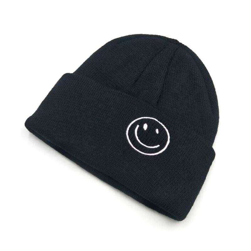 2019 New Embroidery Smiling Face Children Knitted Cap Autumn Winter Brand   Skullies     Beanies   Parent-childHats For Boy Girl Pompom