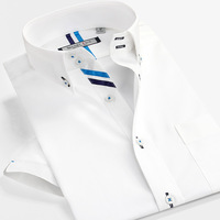 SmartFive 100% Cotton White Shirt Men New 2016 Summer Short Sleeve Shirt Slim Fit Casual Business Shirts Men