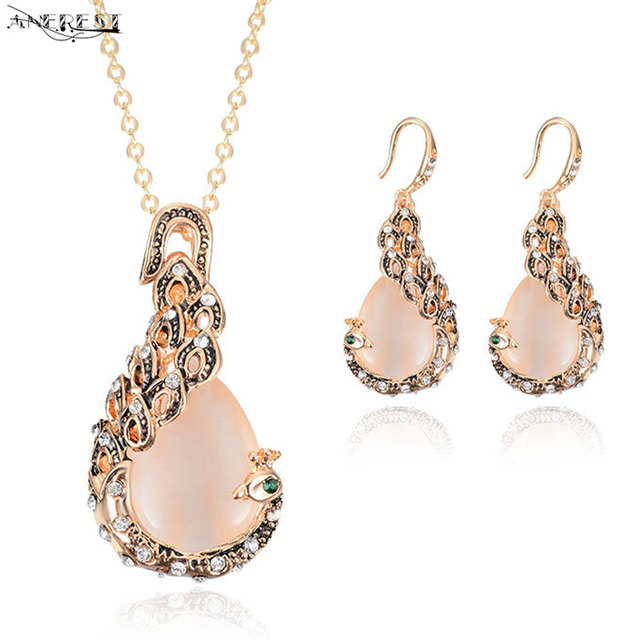 Whole Unique Rose Gold Pea Jewelry Sets For Women Vintage Pendant Necklace Earrings Stud Womens Costume