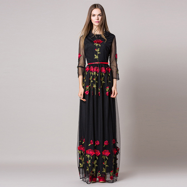 Rose Floral Mesh gauze Embroidered Maxi Dress