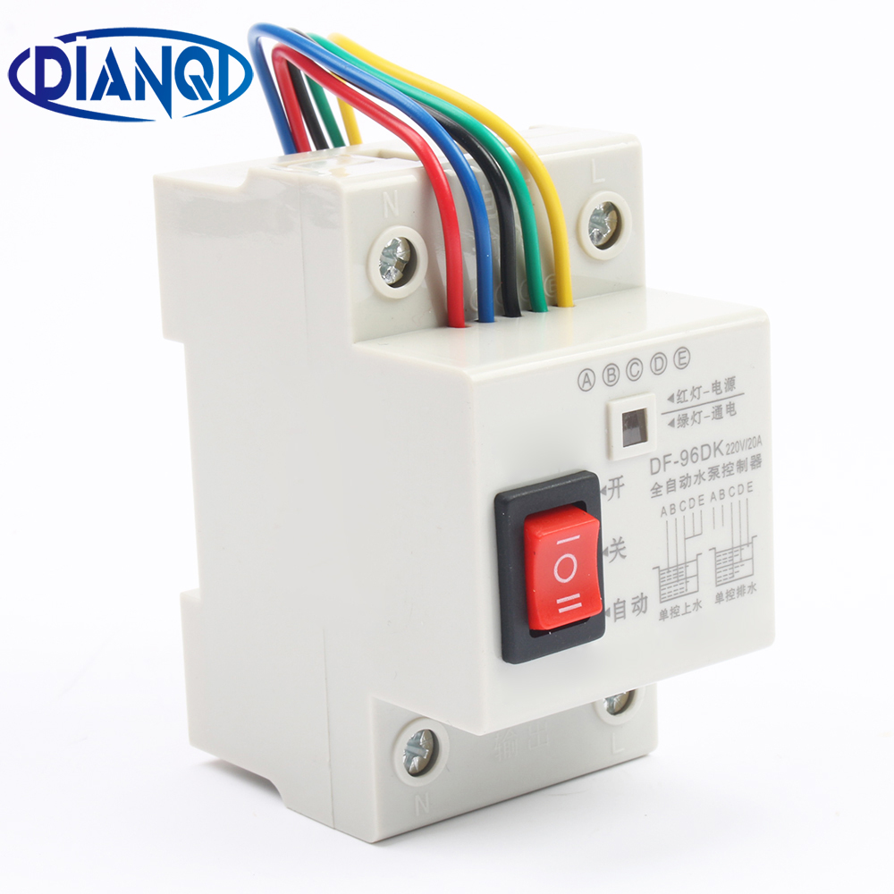 DF96D Automatic Water Level Controller Pump Controller Cistern Automatic Liquid Switch 220V Din Rail Water Level Control