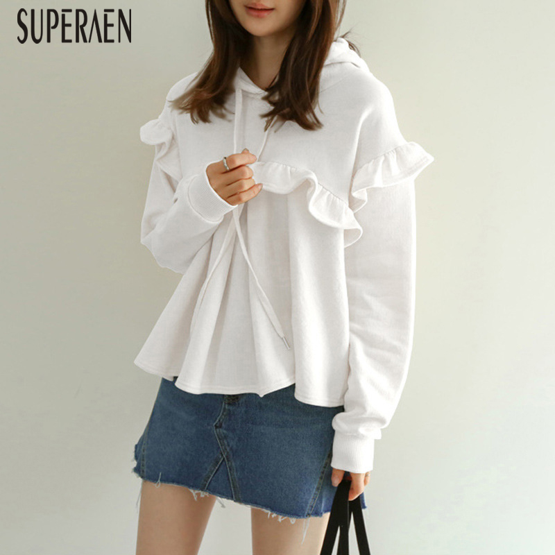 SuperAen New Hooded Sweatshirts Women Autumn and Spring 2019 Hoody Sweatshirts Cotton Long Sleeve Ruffle Women Clothing(China)