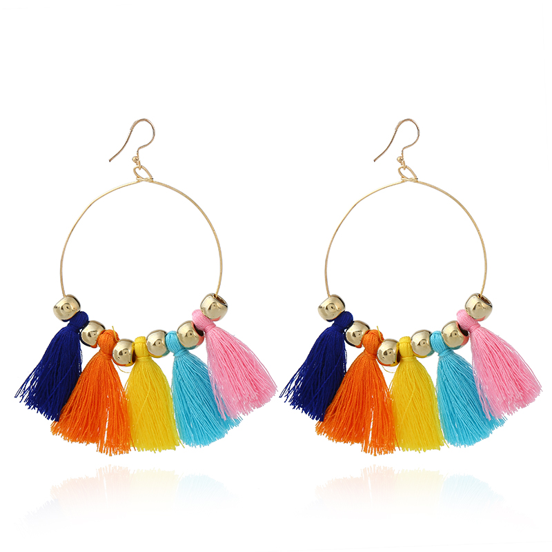 Vintage Ethnic Embroidery Stage Performance Long Tassel Earrings For