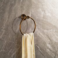 Antique Brass Flower Carved Wall Mounted Towel Rack Holder Rouned Towel Ring Bar