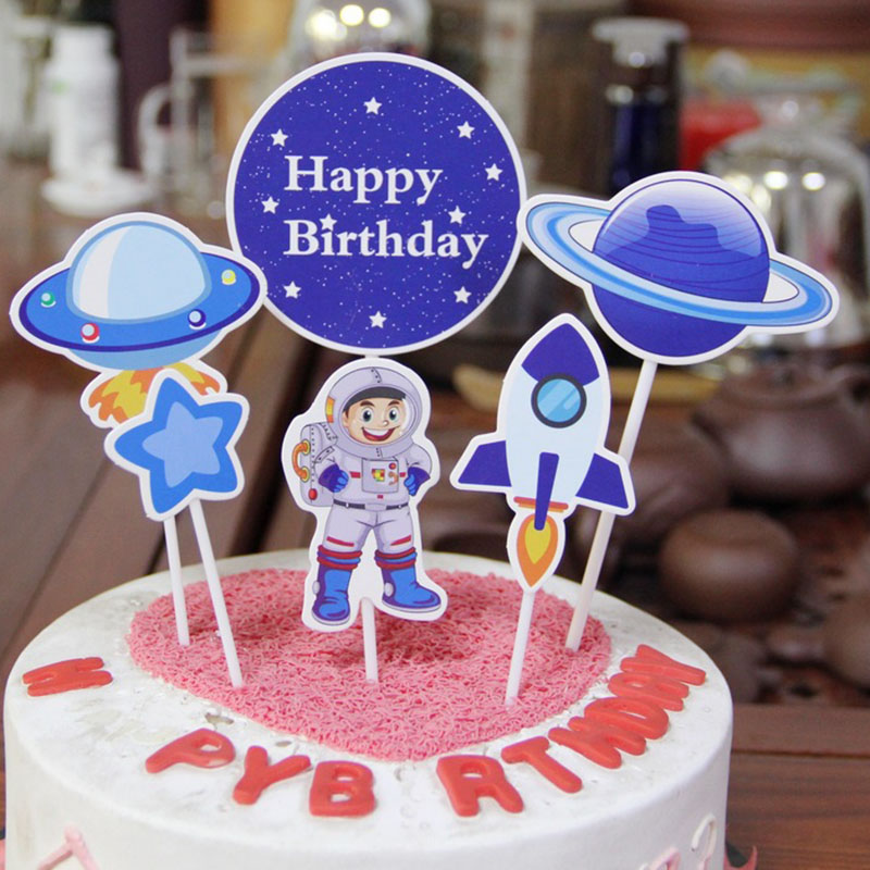 Astounding 6Pcs Astronaut Cupcake Topper Out Space Happy Birthday Cake Topper Funny Birthday Cards Online Unhofree Goldxyz