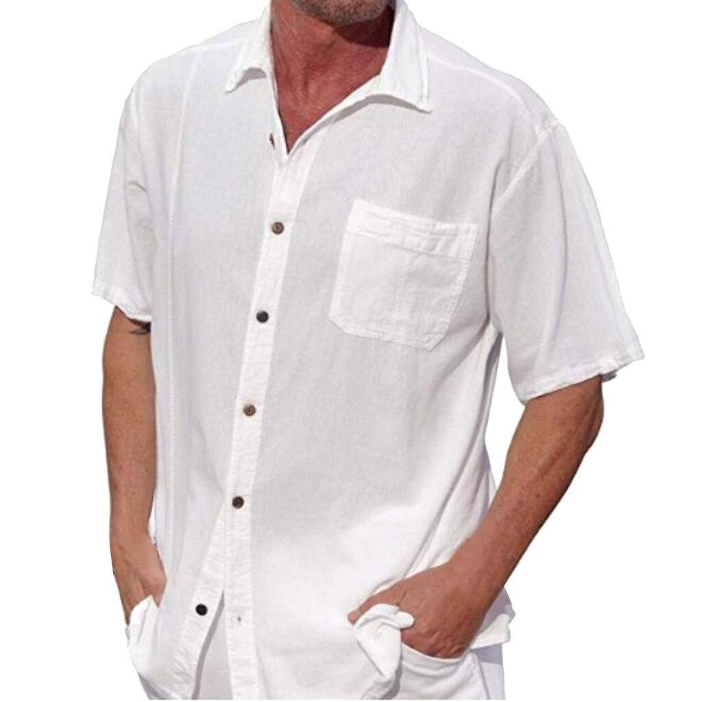 Рубашка с хлопком, бренд 2019, летняя зимняя мужская рубашка, топы с короткими рукавами, мужские белые рубашки, тонкая мужская рубашка, плюс ра...