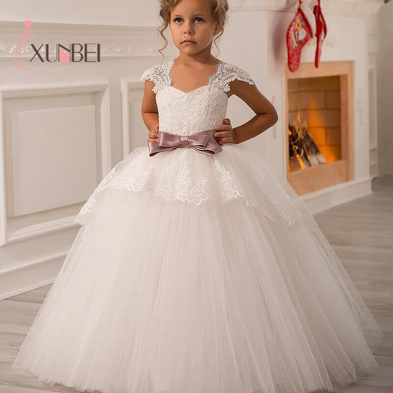 Cute Elegant Lace White Flower Girl Dresses Sleeveless  V-Neck With Pink Bow Girls Kids Evening Gowns Communion Dresses