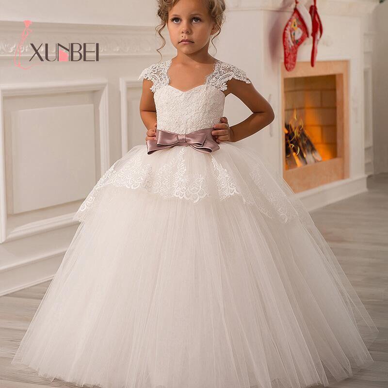 Cute Elegant Lace White Flower Girl Dresses Sleeveless  V-Neck With Pink Bow Girls Kids Evening Gowns Communion Dresses