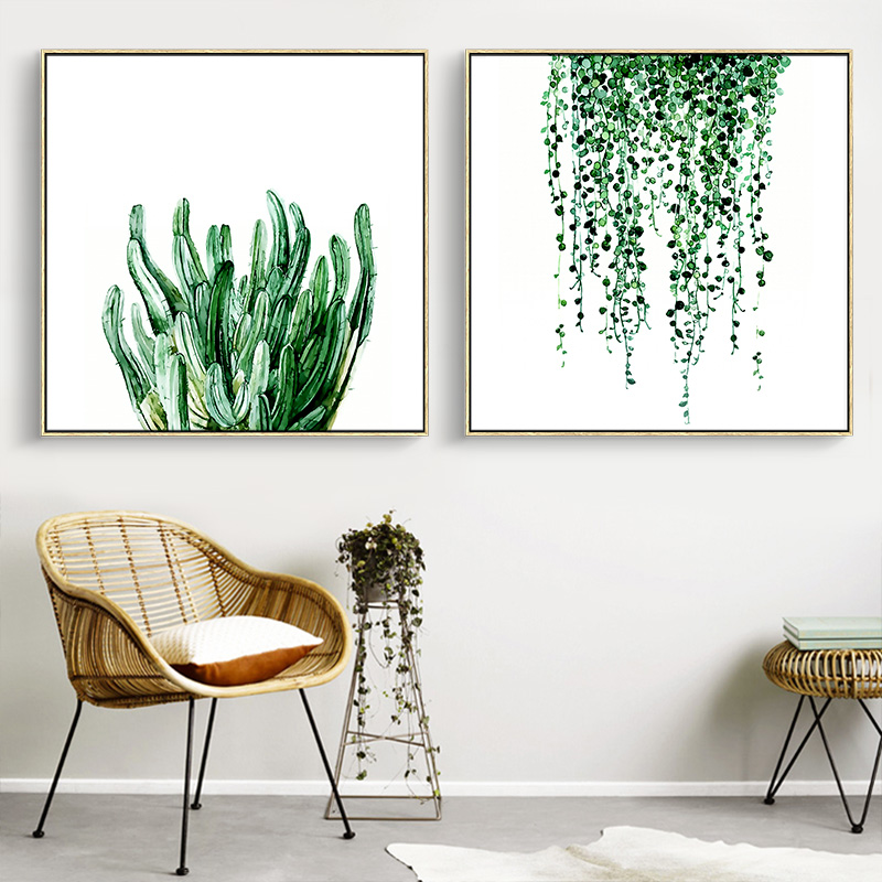 aliexpress koop geen frame groene bladeren plant canvas