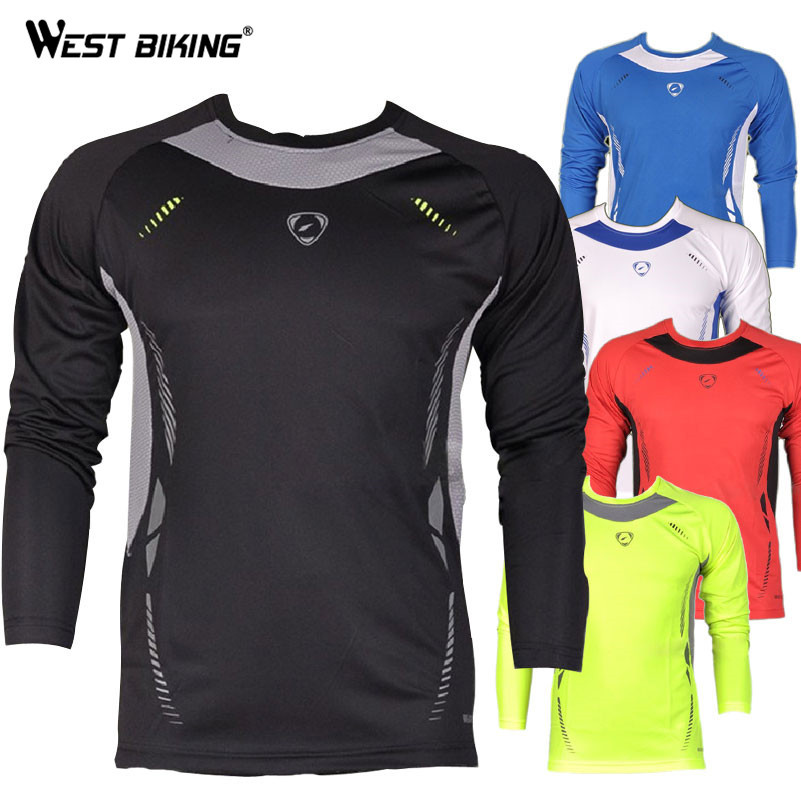 WEST BIKING Design Long Sleeve Men O-neck Cool T-shirts Male Bike Sports Quick Dry Shirts Bicycle Running Cycling Jerseys цены