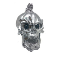 Silver LED Skull Head Light Headlight Lamp Cruiser Chopper Bobber Touring Custom Motorcycle