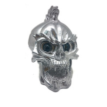 Zilver Led Skull Head Light Koplamp Lamp Cruiser Chopper Bobber Touring Custom Motorfiets