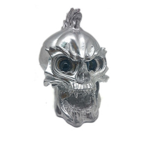 Image 1 - Zilver Led Skull Head Light Koplamp Lamp Cruiser Chopper Bobber Touring Custom Motorfiets