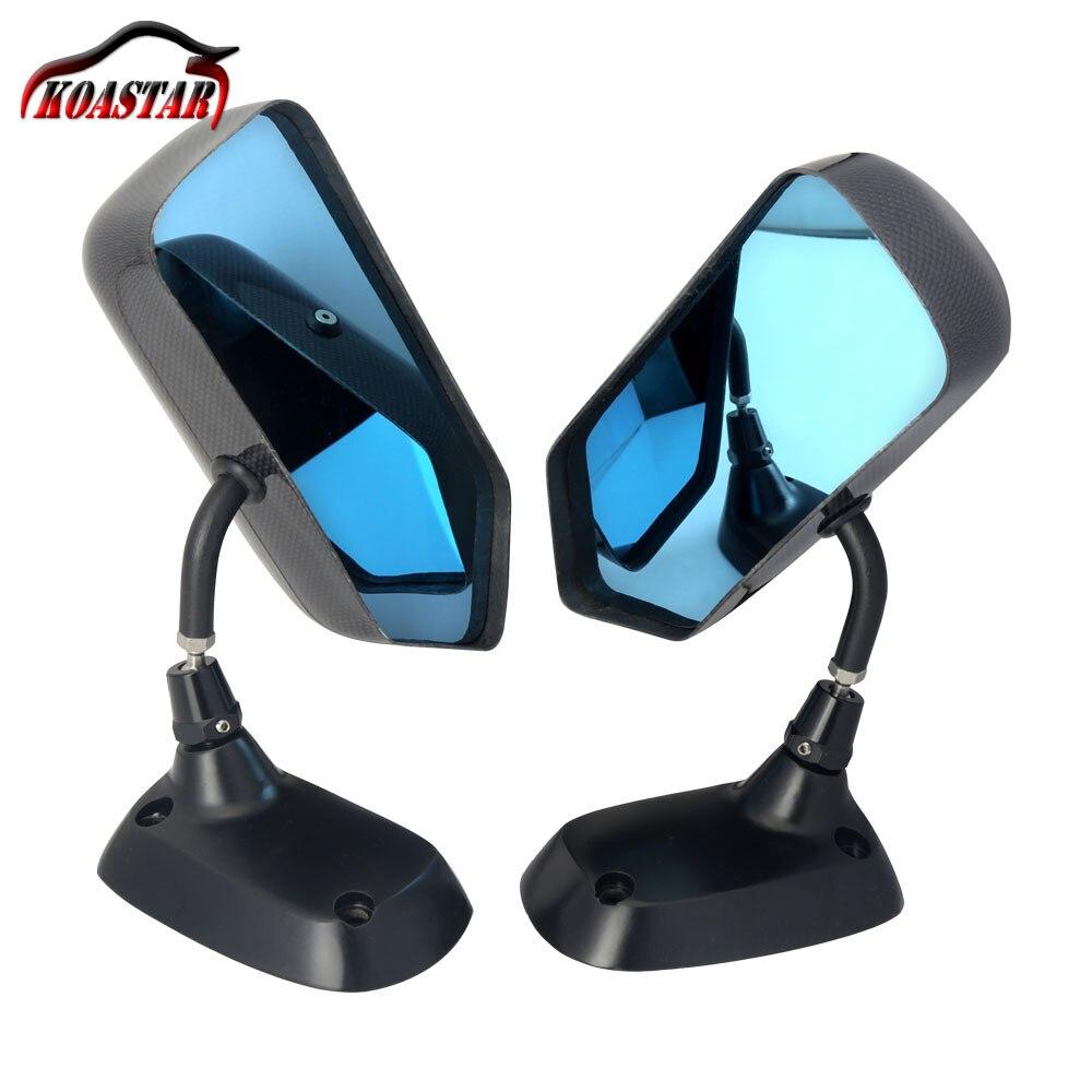 Universal F1 Style <b>Carbon Fiber</b> Blue <b>Mirror</b> Metal Bracket Side ...