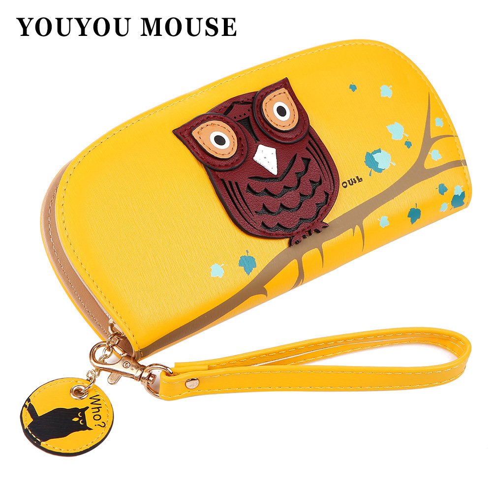 YOUYOU MOUSE Cute Owl Stereoscopic Printing Rounded Zipper Long Women Wallet Ladies Clutches Short Change Purses