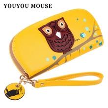 Youyou мышь с милой совой стереоскопический печати округляется молнии Длинные женские бумажник дамские клатчи Короткие Кошельки держателей карт