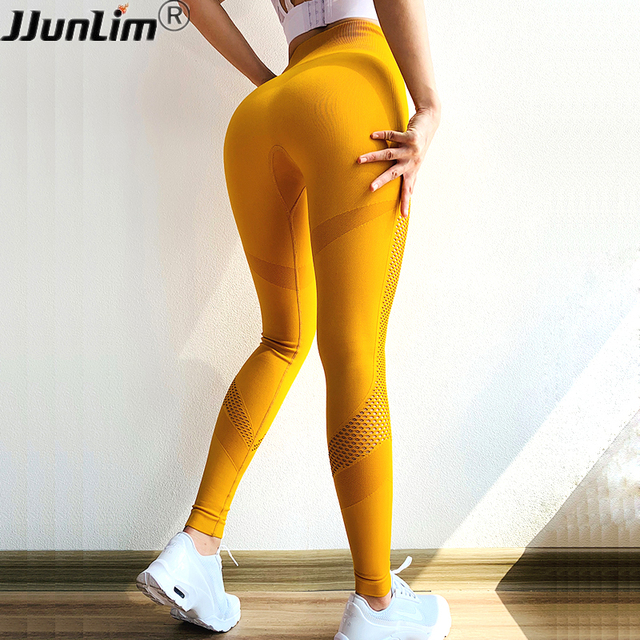 7a2d024e4 Mulheres Leggings Sem Costura Push Up Yoga Pant Tummy Controle Esporte  Calças Calça De Cintura Alta Estiramento Gym Workout Correndo Legging  amarelo