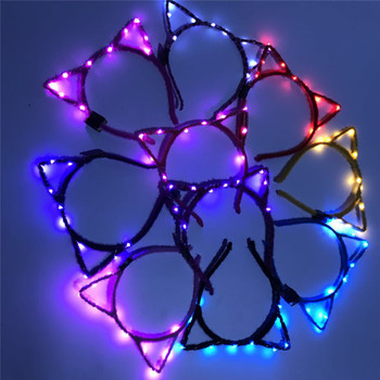 Women Girls LED Flashing Cute Pointed Cat Fox Ears Hair Hoop Glowing String Lights Plush Cloth Wrapped Headband Party Supplies 1