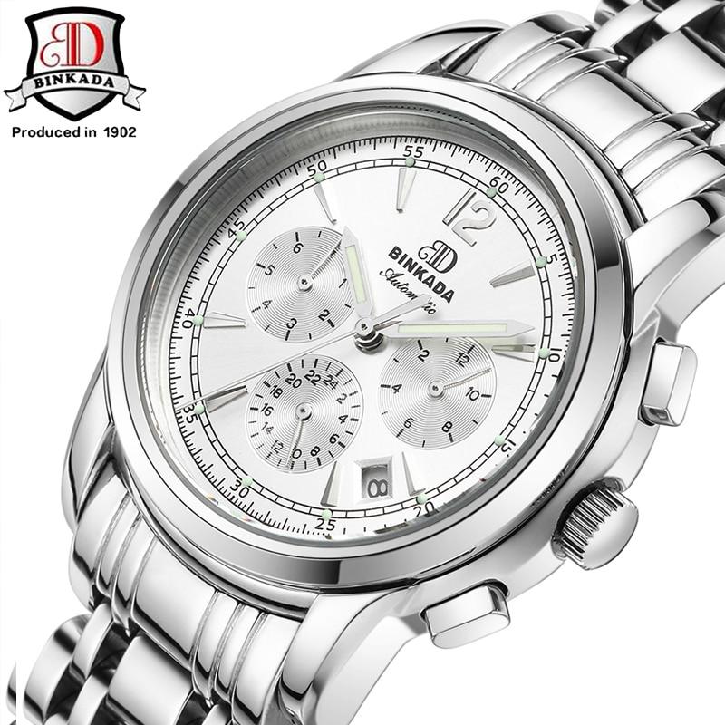 2019 Man Watches BINKADA Mechanical Watch with Date Sapphire Casual Designer Watch Men Luxury Brand Waterproof  Wristwatches