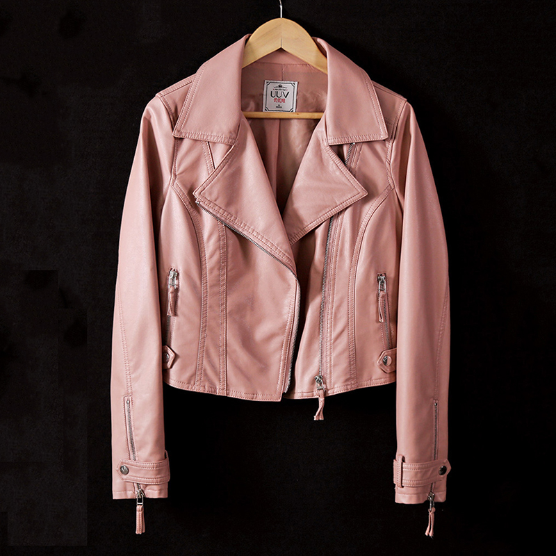 Manches Beige pink Moto Cuir Longues Automne Printemps down Ol dark Femmes Faux Manteaux Femme black À light Mince Pu Gray Vestes Court Gray Lady Collar Zipper Veste Turn 1papwqv