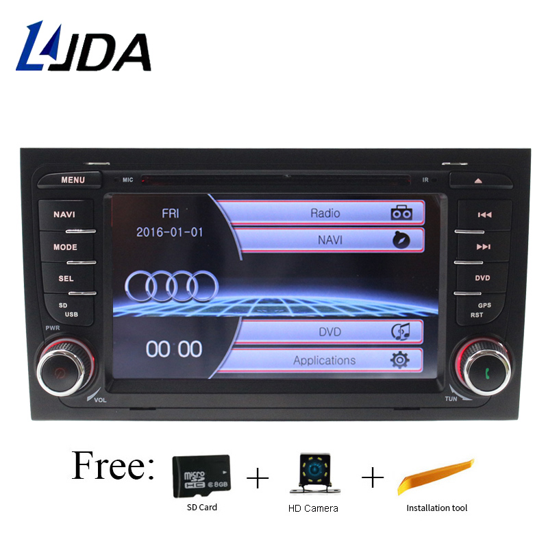 LJDA 2 din GPS Navigation Pour Audi A4 S4 RS4 2002 2003 2004 2005 2006 2007 2008 Voiture Lecteur DVD multimédia Bluetooth Auto Radio