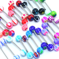 30 Pcs Multicolor Tounge Rings Bars 316L Surgical Steel Barbell Body Piercing Jewelry