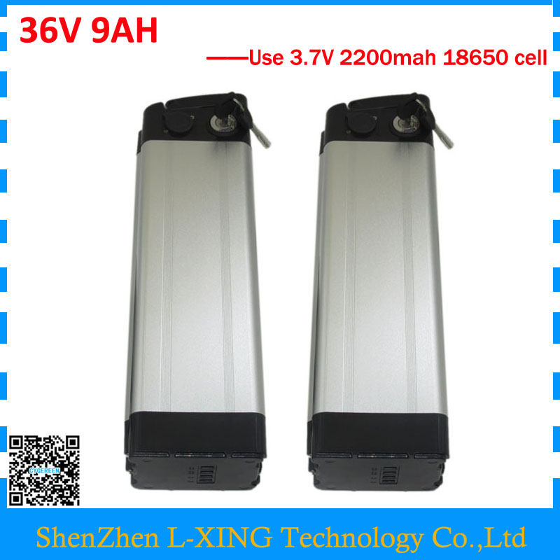 Wholesale 2pcs/lot electric bike battery 36v 9ah 500W silver fish Battery 36v 9ah with 15A BMS,2A Charger Free customs fee all new 1 18 white chevrolet cruze sedan 2015 alloy collectable diecast model cars slot cars hobby