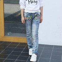 Новые джинсы для девочек Повседневные принты Цветочные Джинсовые брюки дети эластичный пояс прямые джинсы новая модная детская одежда джи...
