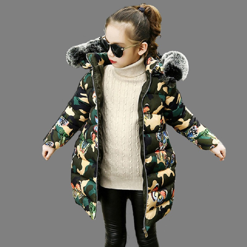 Winter Coat For Girls Fur Hooded Girls Down Jacket Warm Thick Kids Parkas Camouflage Autumn Teen Girls Clothes 6 8 10 14 Years 2017 winter women jacket down new fashion long sleeve hooded thick warm short coat slim big yards female autumn parkas ladies242