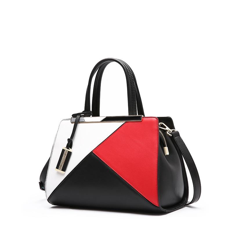 Women's new leather shoulder diagonal casual handbags Horizontal children's leather square stitch large handbags