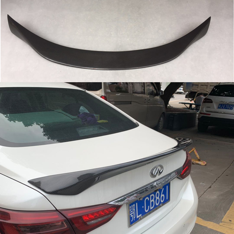 Carbon Rear Lips For Infiniti Q50 Q50S Spoiler 2014 2015 2016 2017 Fiber Trunk Wing