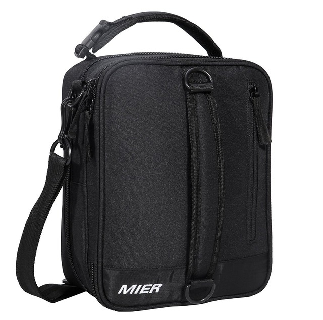 MIER Black Portable Cooler Lunch Pack for Men Women and Kids Insulated Expandable Lunch Box Bag