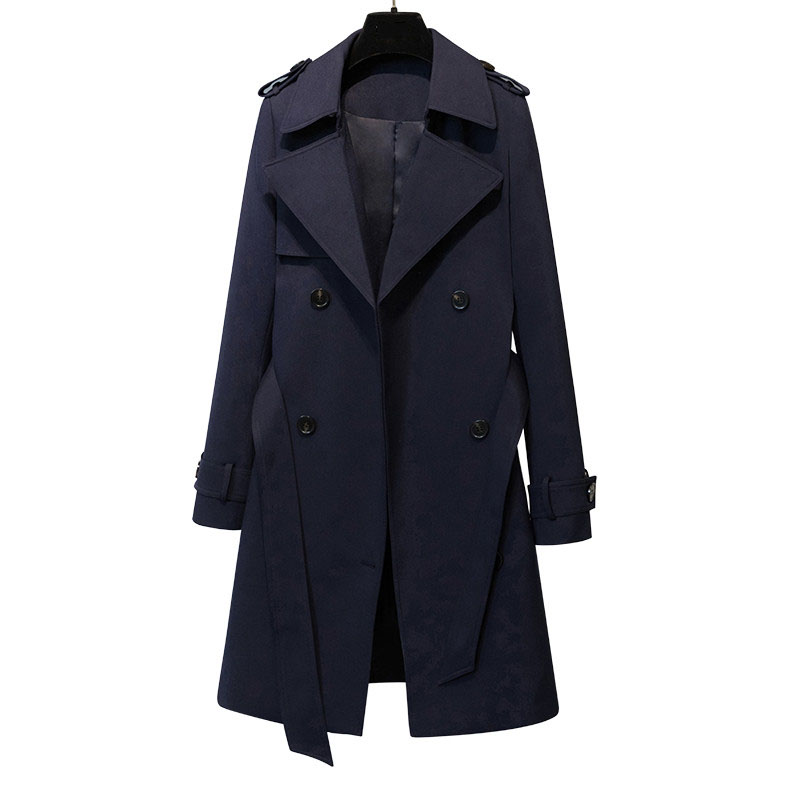 2019 Fashion Spring Autumn Women Turn-Down Collar Double Breasted   Trench   Coat Female Classic Long Slim Business Outerwears M119