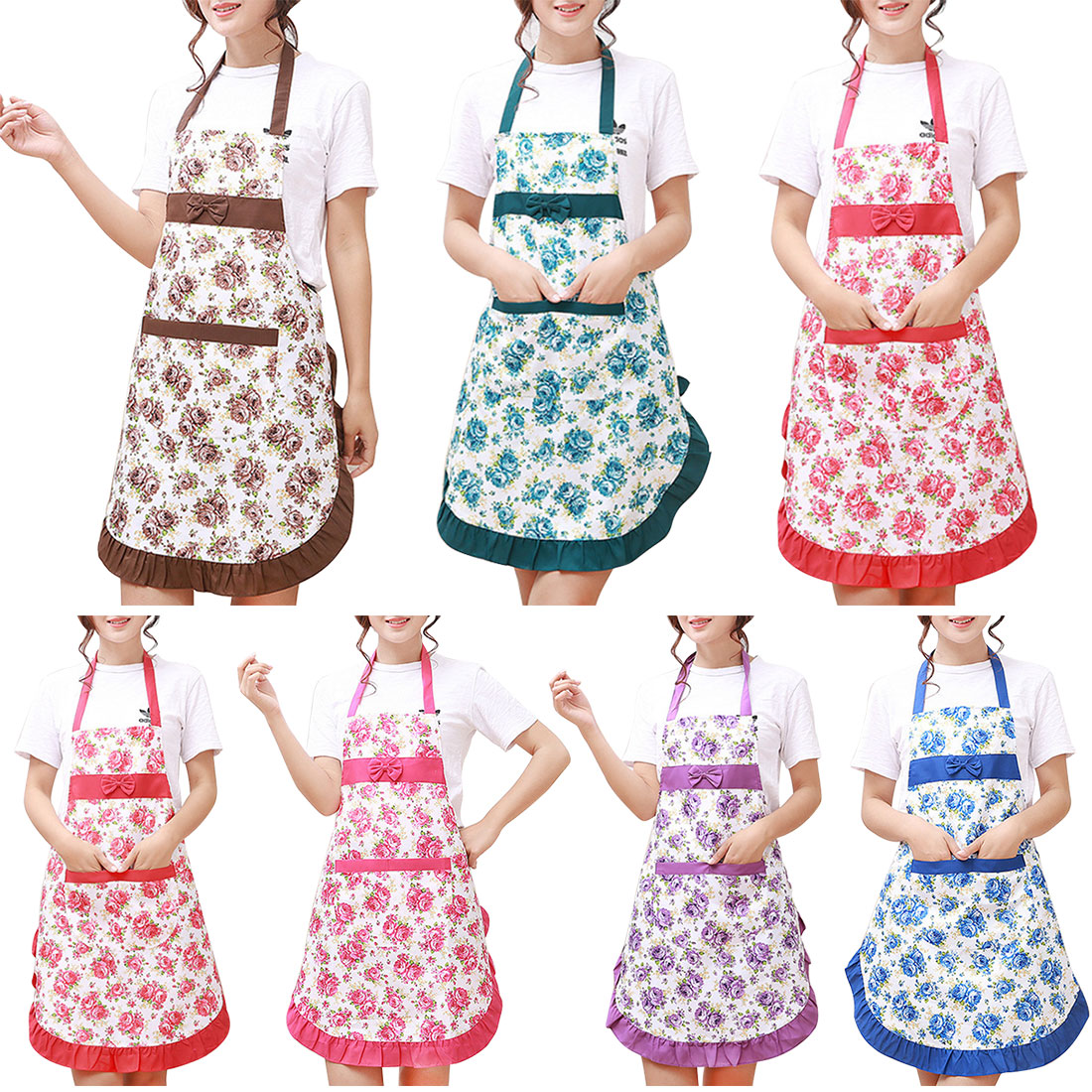 25a453bbe7 New Kitchen Pinafore Floral Cotton Linen Apron Woman Bibs For Home Cooking  Baking Coffee Shop Cleaning Aprons With Pocket