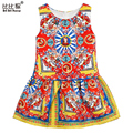 Girls Clothes 2016 Brand Princess Dress Girls Clothes European Kids Dresses for Girls Costumes Floral Print Kids Clothes 2-10Y