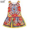 Ropa de las muchachas 2016 de la Marca de La Princesa Vestido de Ropa de Las Muchachas Niños Vestidos para Niñas Disfraces Europea Floral Imprimir Niños Ropa 2-10Y