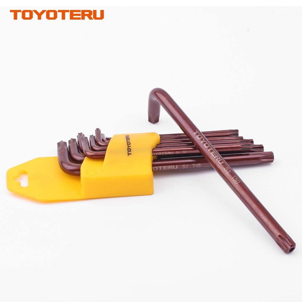 Купить с кэшбэком TOYOTERU 9Pcs Box End Anti Tamper Proof Torx Key Bit Wrench L-Shape T10 T15 T20 T25 T27 T30 T40 T45 T50 Long Arm Length Type