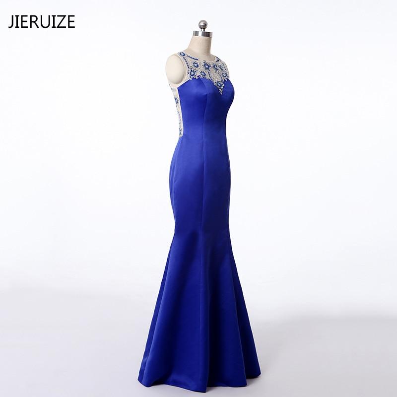 JIRUIZE Royal Blue Luxury Beaded Mermaid Evening Dresses Long 2018 Sheer Back Long Prom Dresses Party Dress Evening Gowns