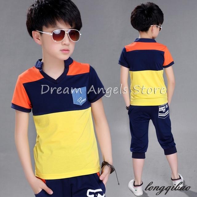 2017 nuevo verano niños chándal de algodón que arropan la raya muchachos Costura ropa de los cabritos t-shirt + shorts 2 unids traje