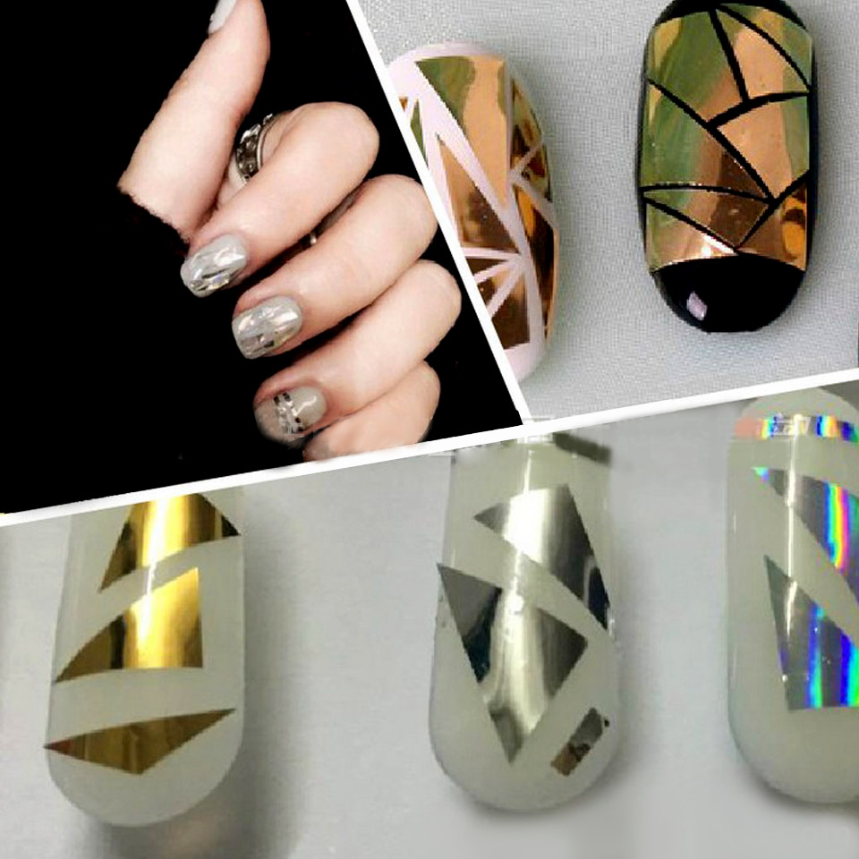 Holographic Foil Nail Stickers Manicure Broken Gl For Design Nails Mirror Art Stencil Decal Zjt0050 In Decals From