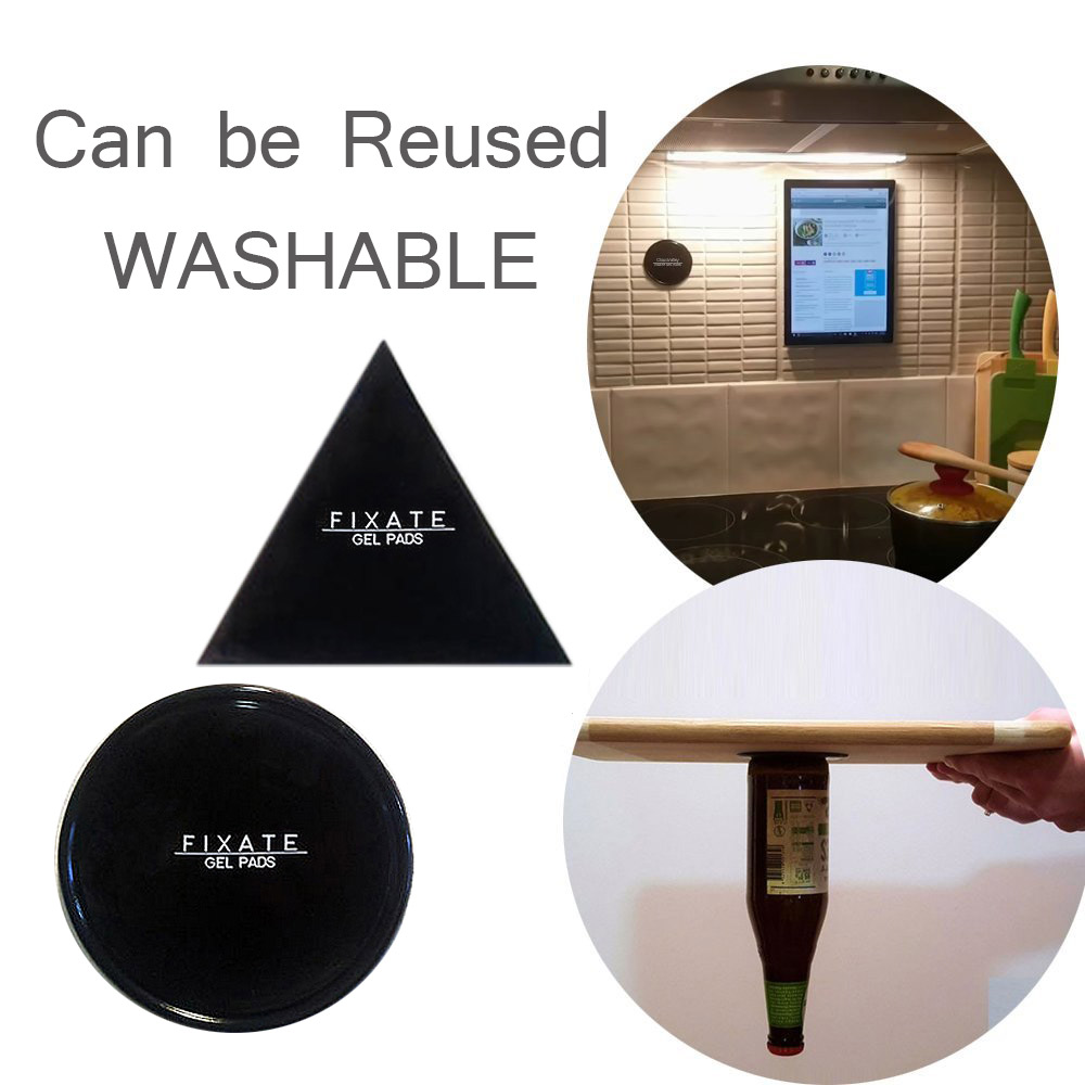 Powerful Fixate Gel Pads Strong Stick Glue Anywhere Wall Sticker Can Be Cleaned Repeatedly, Alone 1 Piece Circle Or 1 Triangle