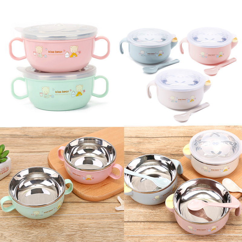1pc Kids Cute Cartoon Stainless Steel Bowl With Spoon Newborn Baby Feeding Training Bowl Children's Tableware Ecological Dishes