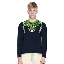ECTIC Men 2 Color Thickened sweater Tiger pattern fashion man Round neck Jacquard coat S-XXL
