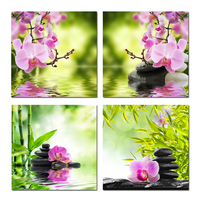 Nature Butterfly Orchid Flower Zen Stones Painting Wall Art Bamboo Picture Print On Canvas Modern Art