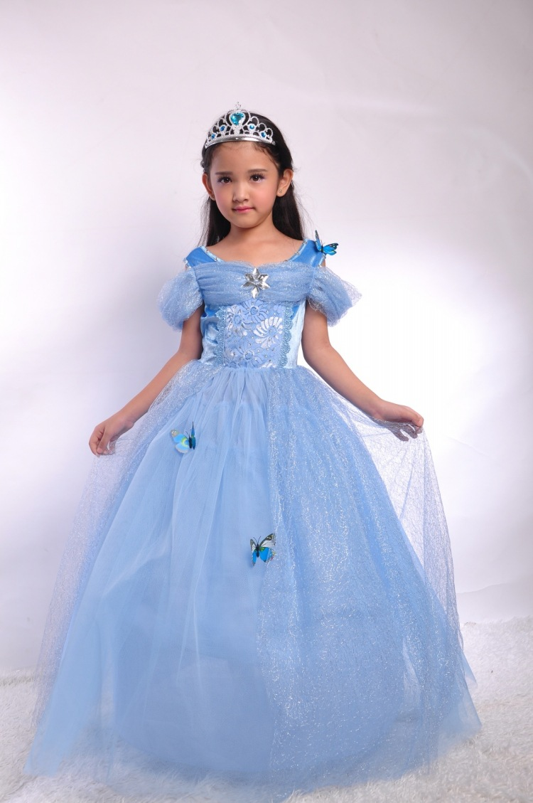 Fashion blue princess girls cinderella costumes for birthday party dresses for teenage girls 2015 new style movies cinderella princess dresses for kids nice blue princess dresses cinderella fancy costumes child s clothes