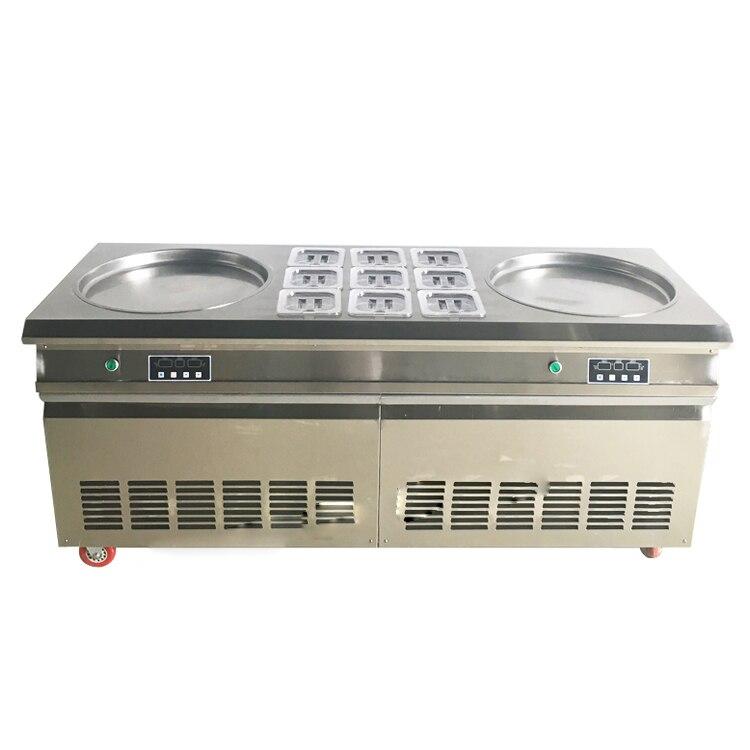 Livraison gratuite double casseroles carrées avec 9 réservoirs de garniture de machine à rouleaux de crème glacée frite avec réfrigérant R22