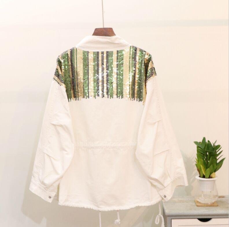 Nouvelles Manches blanc Femmes Spliced Automne Zipper Cowboy Col Vestes Pur 2018 Denim De Couleur Paillettes Manteau Longues Montant Noir Mode Casual w5vgq4