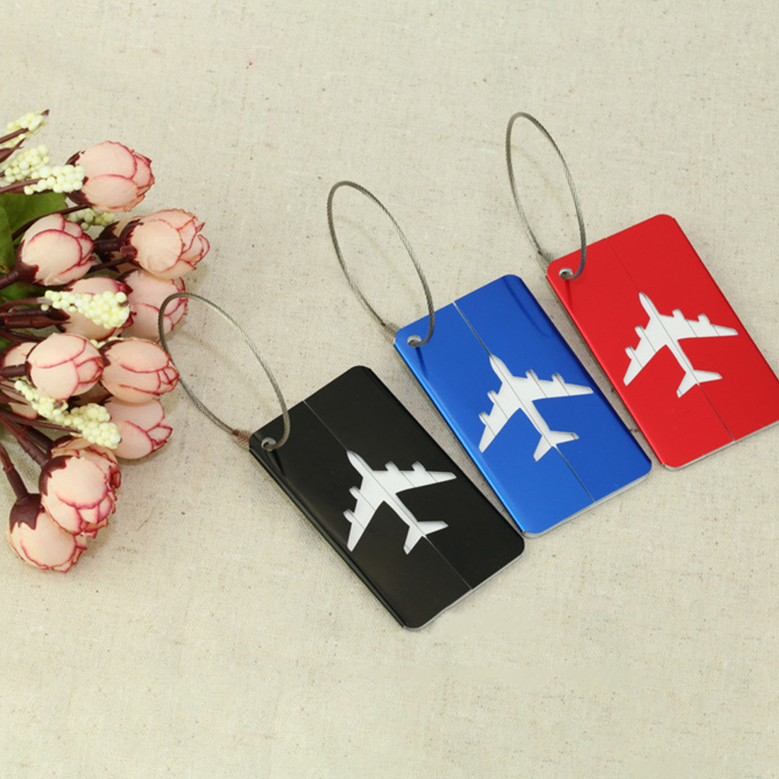 Mini Rectangle Aluminium Alloy Luggage Tags Travel Accessories Baggage Name Tags Suitcase Address Label Holder