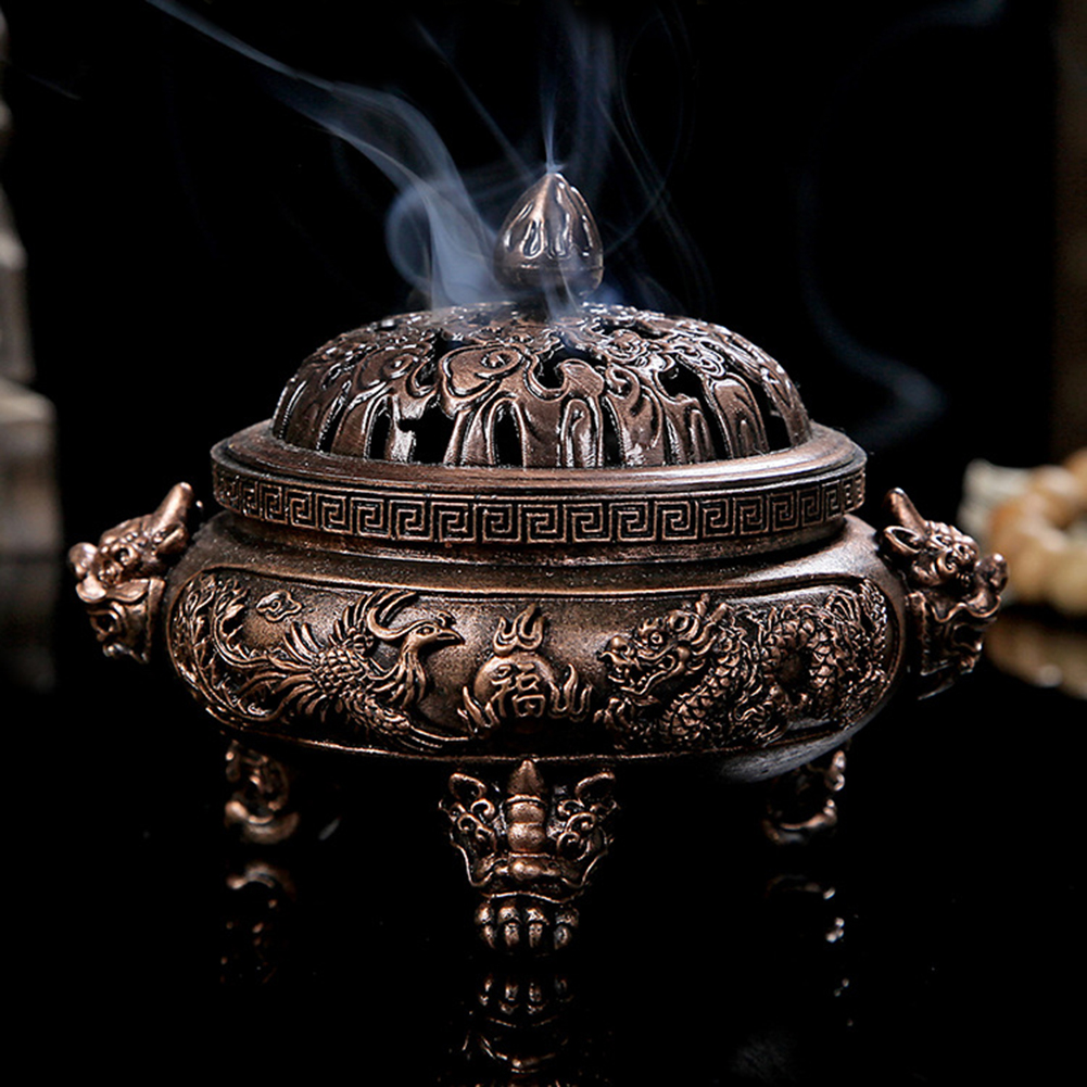 Incense Burner Classical Chinese Pattern Style Incense Burner Alloy Bronze Incense Burner Metal Craft for Office Home Decor