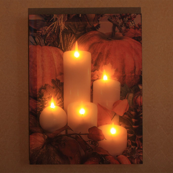 3d mural frameless led candle luminous painting home for Decorative mural painting